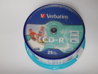 CD-R Verbatim (25-Pack)Spindle/Printable/52x/700MB/DLP